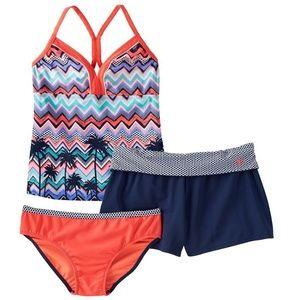 Girls Plus 3-Piece Halterkini Swimsuit  Shorts Set